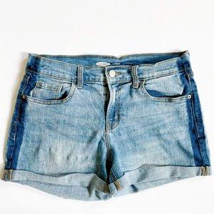 OLD NAVY Boyfriend Cuffed Two-tone Jean Shorts
